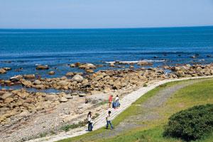 トレイルを歩きながら、東北の海岸線をはじめ、美しい景色が望める。