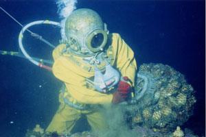 写真は洋野町で長く伝わる伝統潜水方法「南部潜り」。各地の文化に触れられるのもトレイルの魅力。